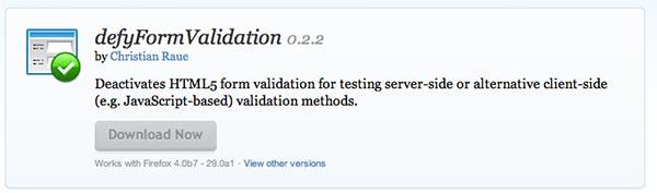 Complementos de Firefox defyform Validation