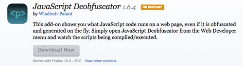 Complementos de Firefox JavaScript Deobfuscator