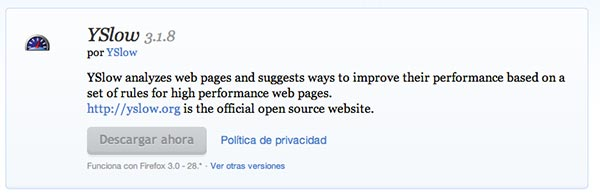 Complementos de Firefox YSlow