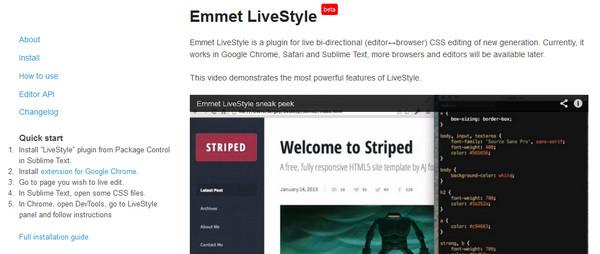 Editor HTML Emmet Livestyle