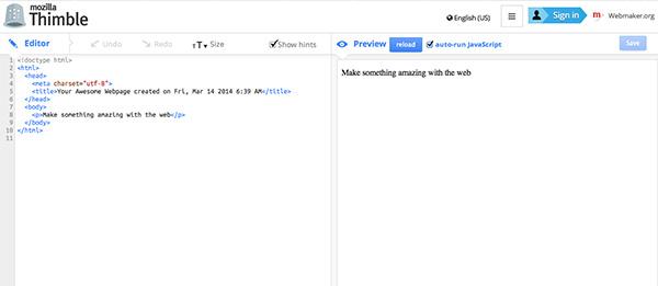 Editor HTML online Mozilla Thimble