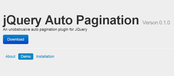 JavaScript Plugin Auto Pagination