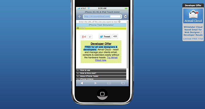 Emulador para sitio web movil iPhone Tester