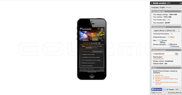 Emulador para sitio web movil Mobile Phone Emulator