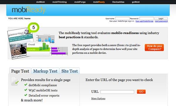 Emulador para sitio web movil MobiReady