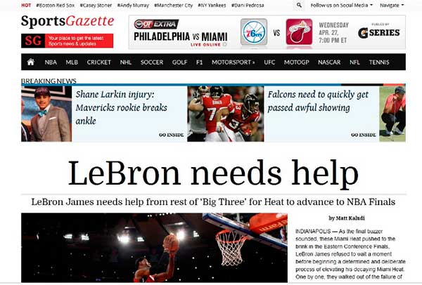 Temas WordPress Sports Gazette