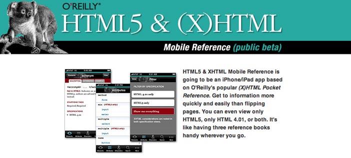 Aplicaciones moviles para aprender O'Reilly HTML5 & XHTML