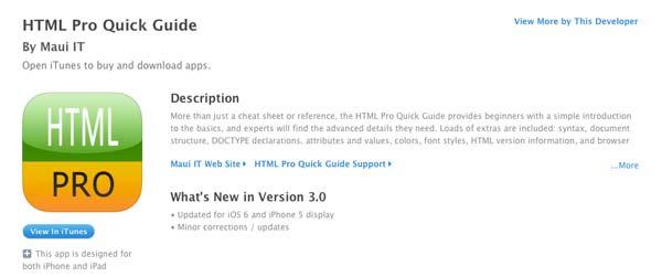 Aplicaciones moviles para aprender HTML5: HTML Pro Quick Guide