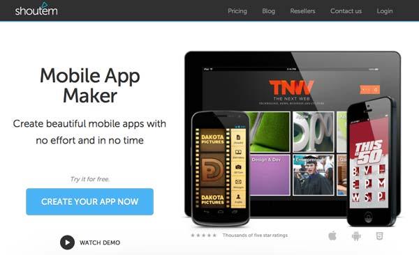 Herramienta para crear aplicaciones para Android: ShoutEm