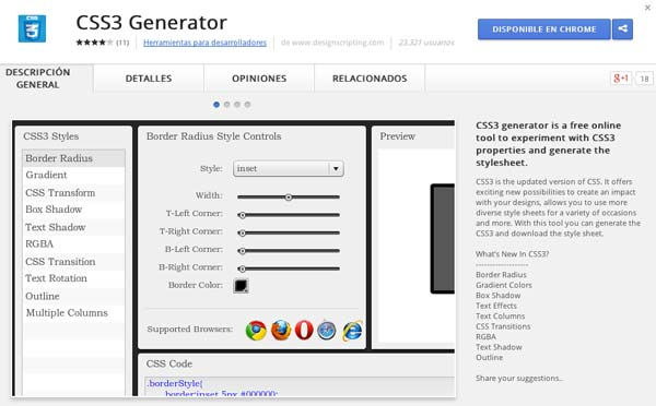 Extensiones Google Chrome para programadores: CSS3 Generator