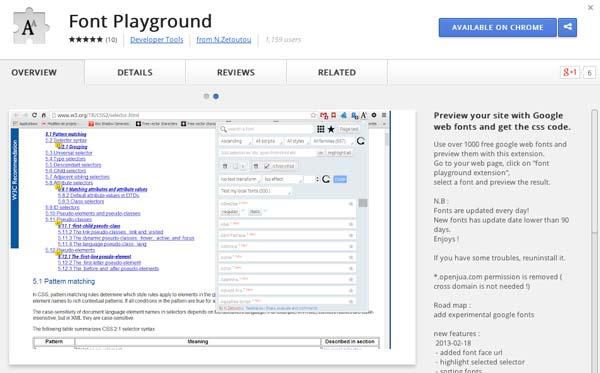 Extensiones Google Chrome para diseñadores: Font Playground