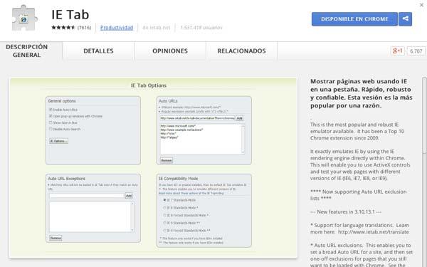 Extensiones Google Chrome para programadores: IE Tab