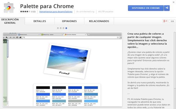 Extensiones Google Chrome para diseñadores: Palette para Chrome