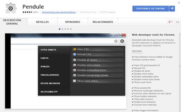 Extensiones Google Chrome para programadores: Pendule