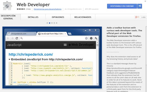 Extensiones Google Chrome para programadores: Web Developer