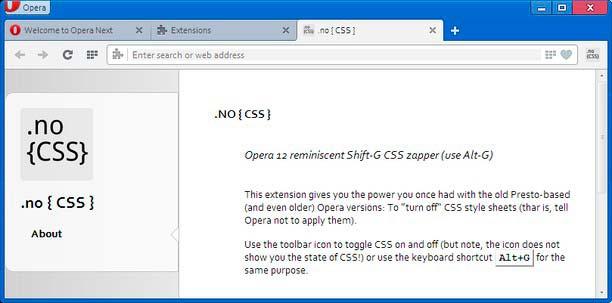 Extensiones Opera: No CSS