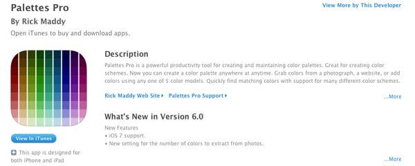 iOS app Palettes Pro