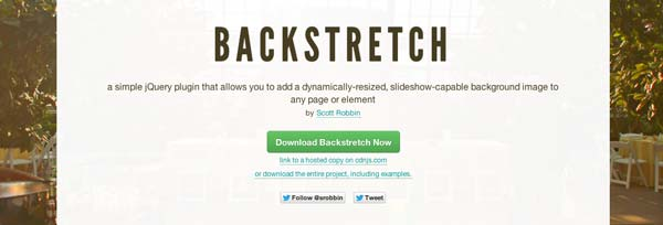 Javascript plugin Backstretch