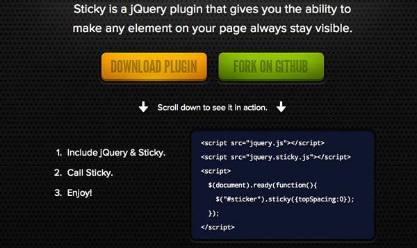 Javascript plugin Sticky
