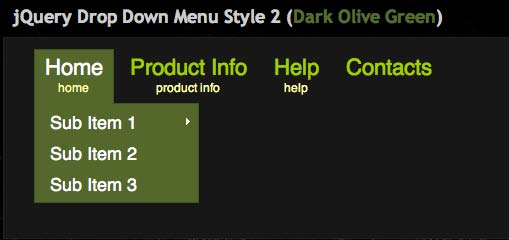 JavaScript plugin Drop Down Menu Style 2
