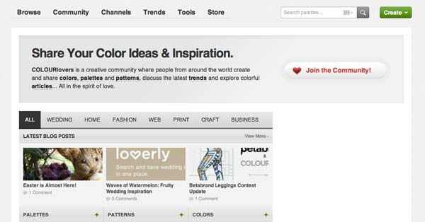 Lista de redes sociales para diseñadores: ColourLovers