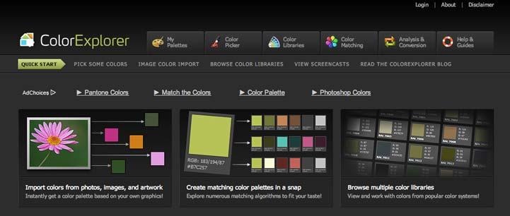 Herramienta web para generar paletas de colores Color Explorer