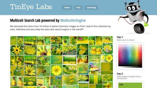 Herramienta web para generar paletas de colores TinyEye Labs