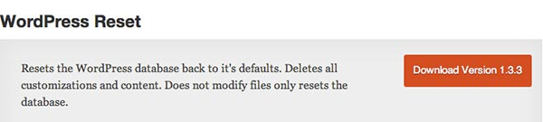 Plugin WordPress Reset