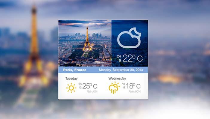 PSD Gratis Weather Widget