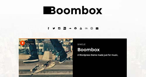 Temas WordPress para sitios web dedicados a la música: Boombox