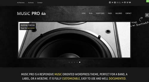 Temas WordPress para sitios web dedicados a la música: Music Pro