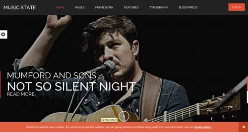 Temas WordPress para sitios web dedicados a la música: Music State