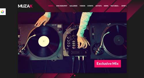 Temas WordPress para sitios web dedicados a la música: Muzak