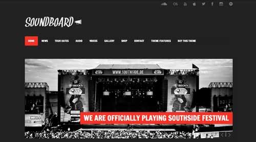 Temas WordPress para sitios web dedicados a la música: Soundboard