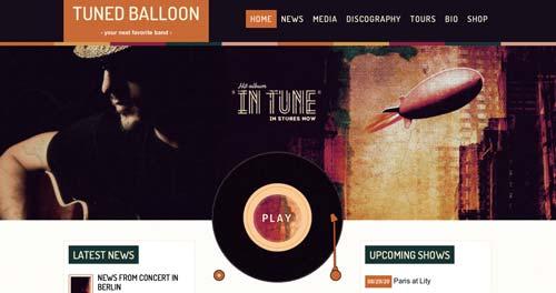 Temas WordPress para sitios web dedicados a la música: Tuned Balloon