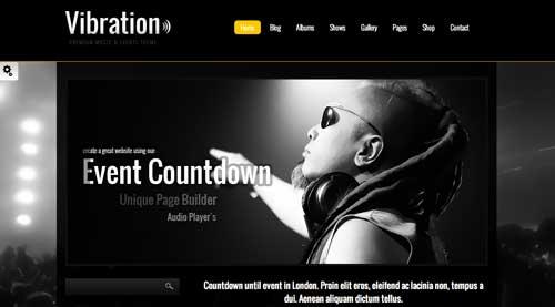 Temas WordPress para sitios web dedicados a la música: Vibration