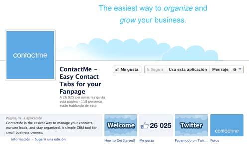 Aplicaciones de Facebook para páginas corporativas: ContactMe