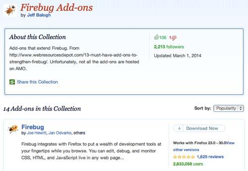 Colección con complementos de Firefox: Firebug Add-ons
