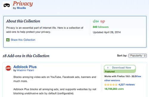 Colección con complementos de Firefox: Privacy