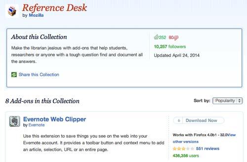 Colección con complementos de Firefox: Reference Desk