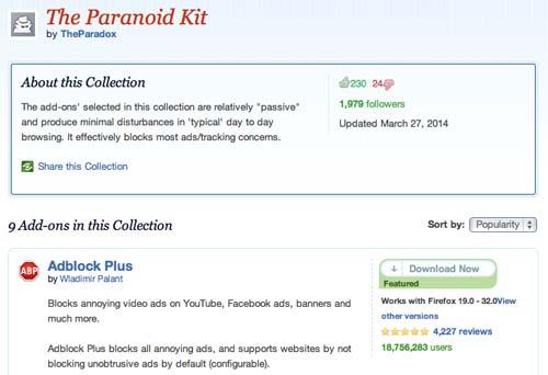 Colección con complementos de Firefox: The Paranoid Kit
