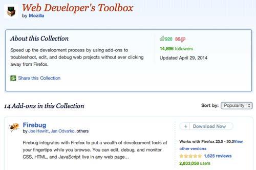 Colección con complementos de Firefox: Web Developer's Toolbox