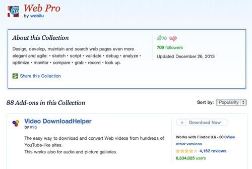 Colección con complementos de Firefox: Web Pro