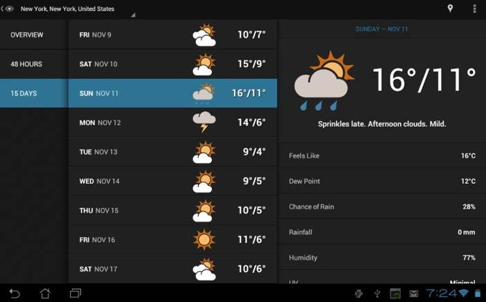 Crear aplicaciones para Android - Ejemplos: Eye in the sky Weather