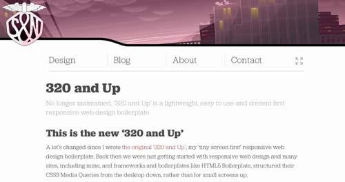 Framework CSS con sistema de cuadrículas 320&Up