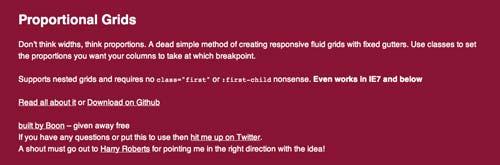 Framework CSS con sistema de cuadrículas Proportional Grids