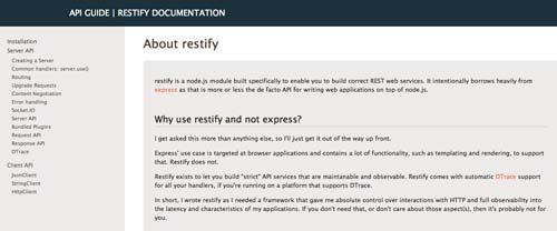 Framework Javascript para Node.js Restify