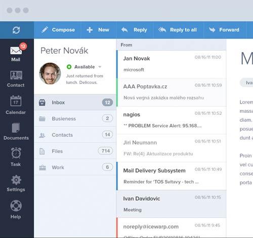Interfaz de usuario: Panel de administración de Ice Wrap E-mail Client