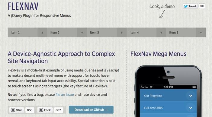 Javascript plugin FlexNav