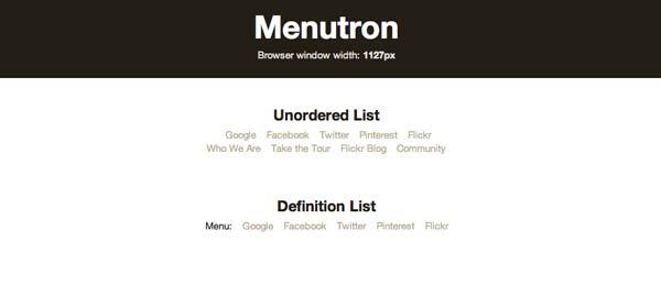 Javascript plugin Menutron